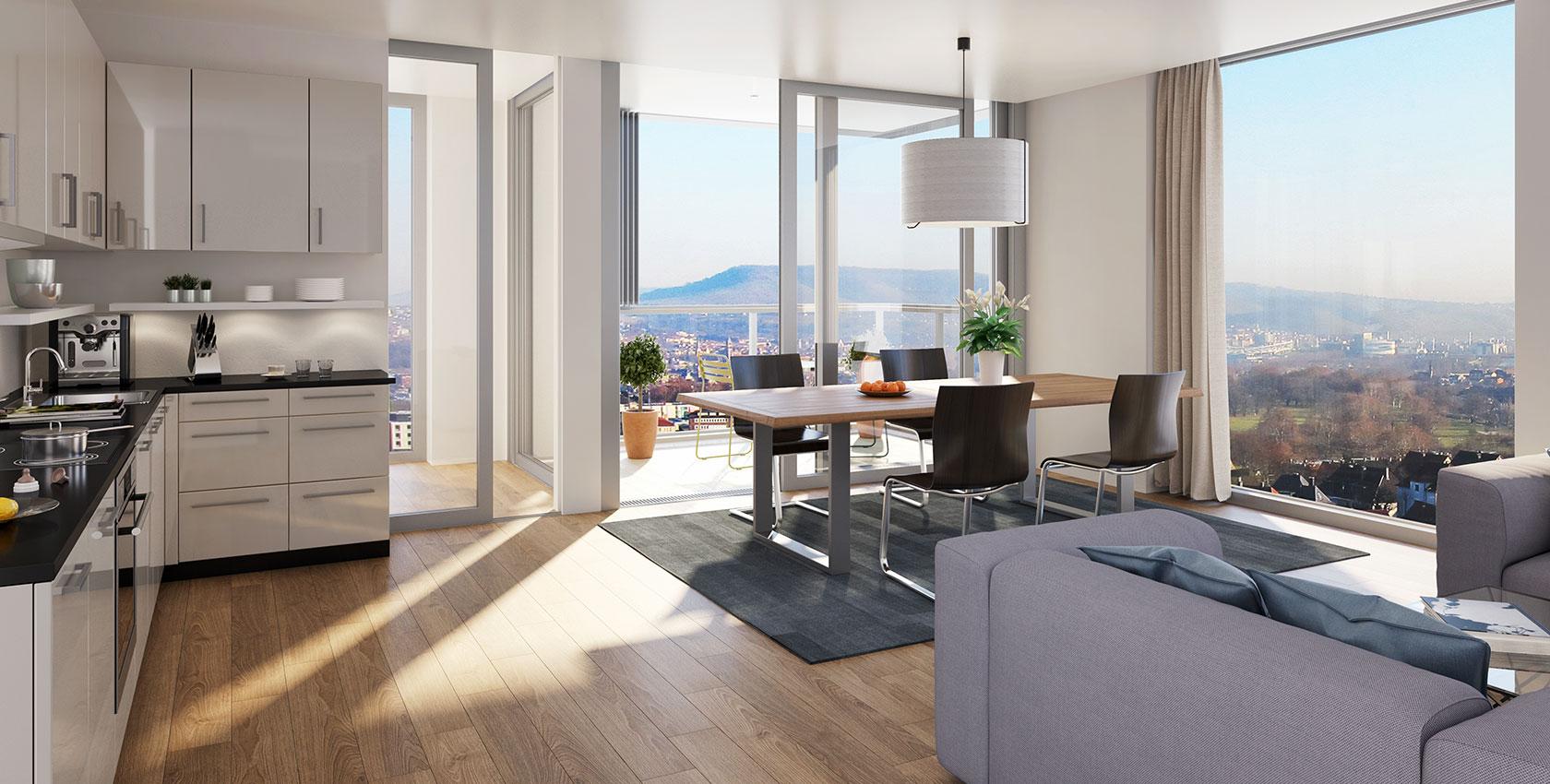 OG 11, 2,5-Zimmer-Wohnung, ca. 82 m²: Skyline Stuttgart
